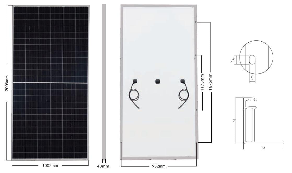 Silver Frame White Backsheet Monocrystalline Solar Panel